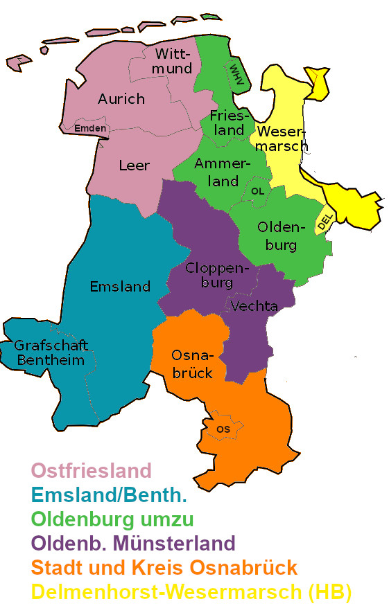 Karte der Weser-Ems-Region